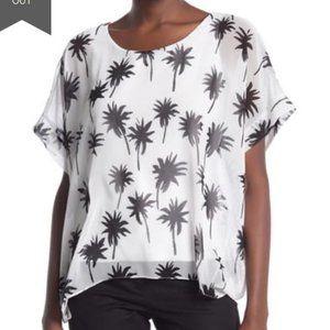 Bailey 44 Habitat Palm Tree Print Top White Black